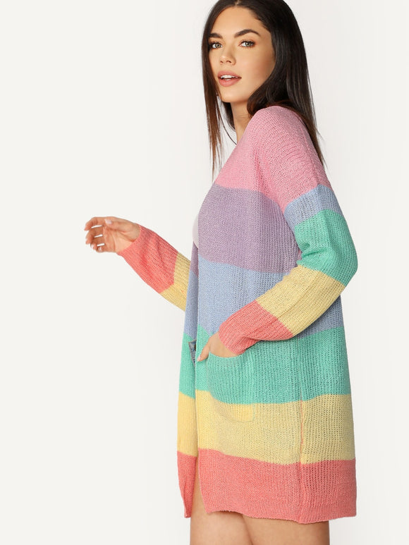 Open Front Double Pockets Rainbow Knit Cardigan