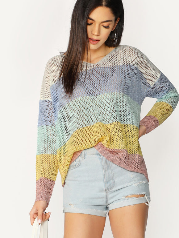 V-Neck Colorblock Loose Knit Pullover Sweater