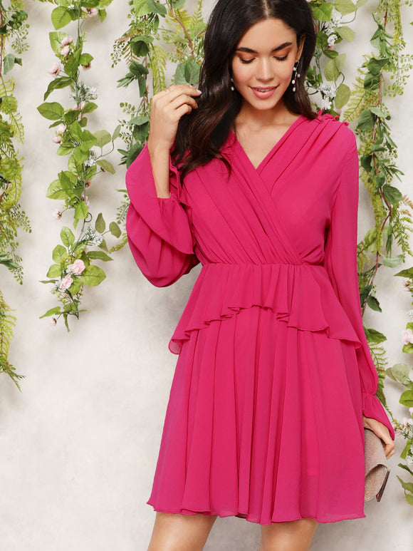 Frill Detail Surplice Wrap Dress - Truly Yours, Fashion