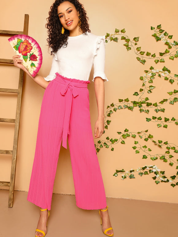 Paperbag Waist Wide Leg Pleated Pants