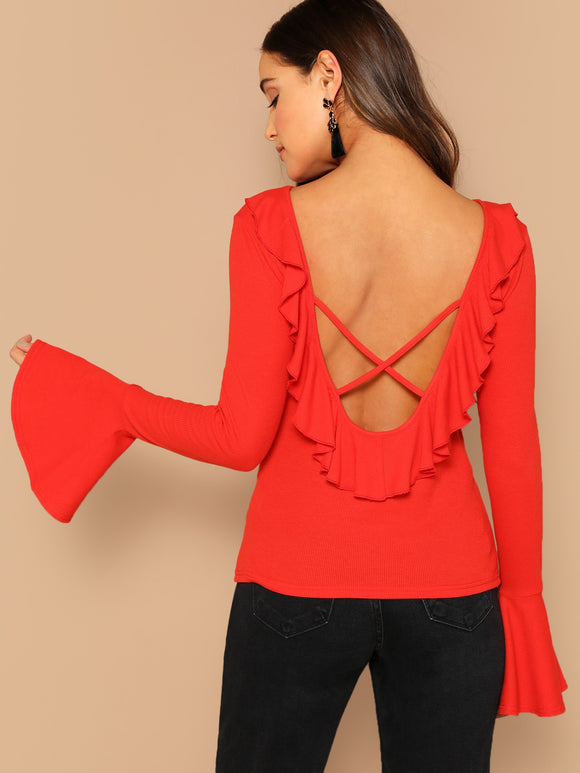 Crisscross Backless Bell Sleeve Tee - Truly Yours, Fashion