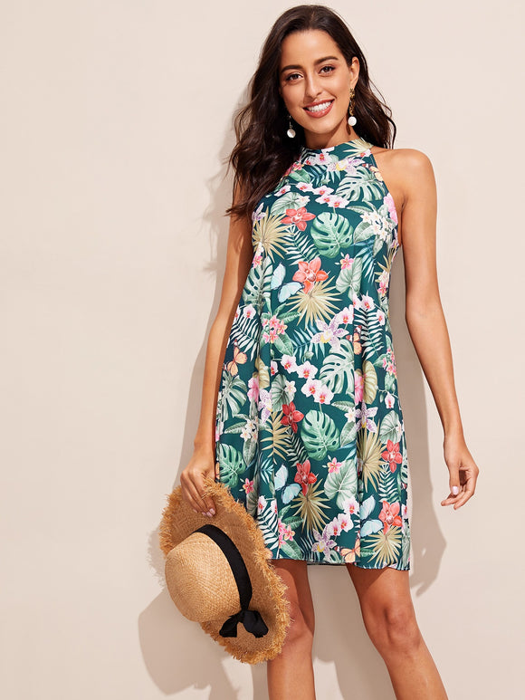 Keyhole Back Tropical Print Halter Dress