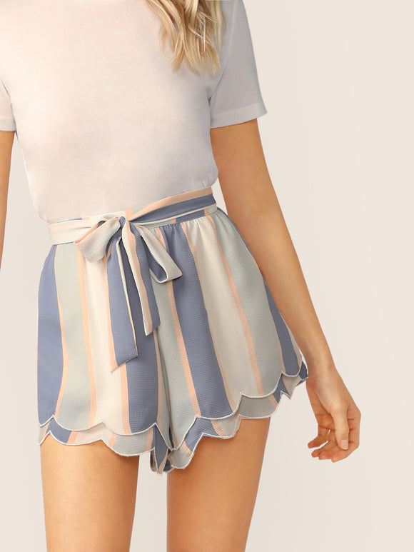 Waist Tie Scalloped Hem Striped Shorts