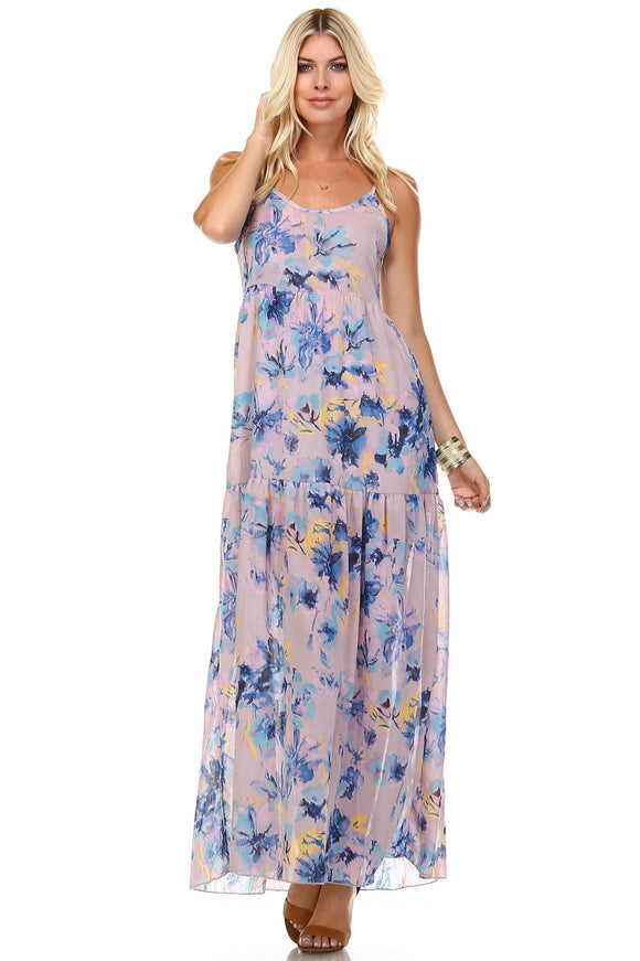 Floral Printed Sleeveless Chiffon Maxi - Truly Yours, Fashion