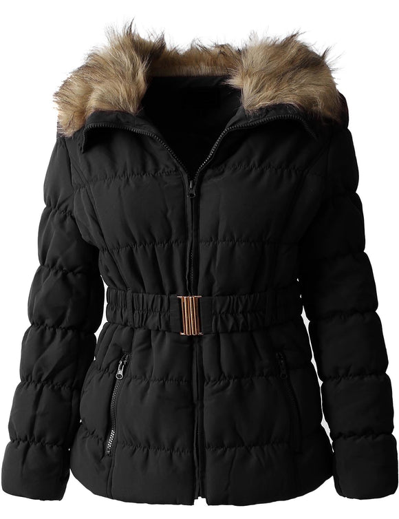 Womens Fur Lined Coat with Belt - Truly Yours, Fashion