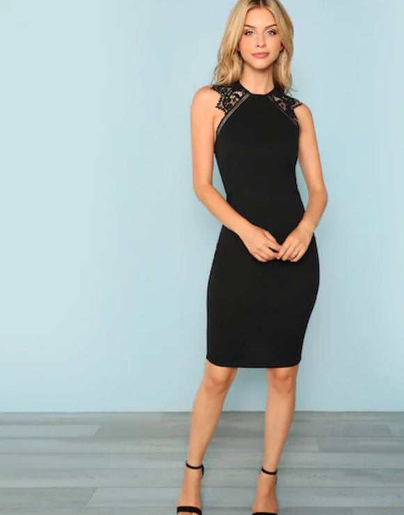 Lace Insert Armhole Bodycon Dress