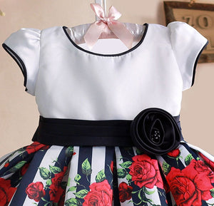 Black/White Striped Rose Dress - Truly Yours, Fashion
