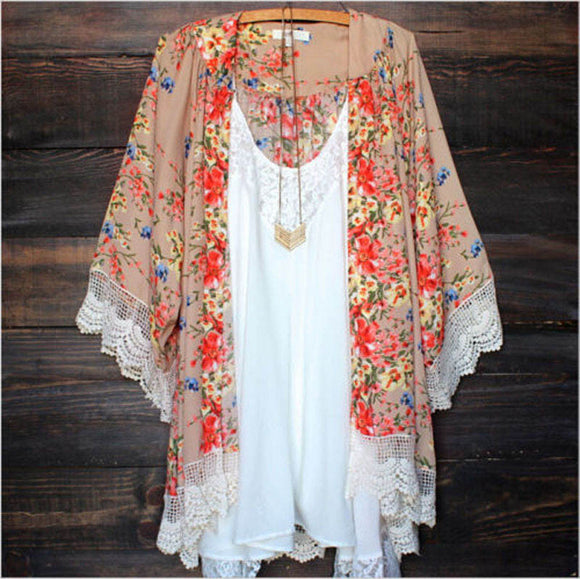 Floral Print Lace Sleeve Kimono - Truly Yours, Fashion