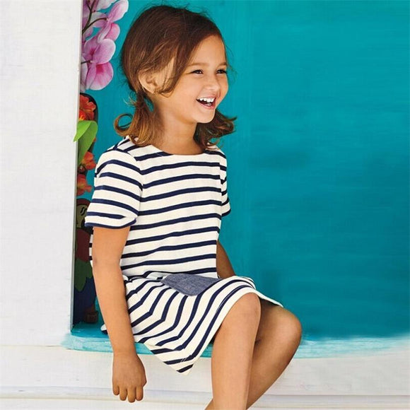 Short Sleeve Blue Stripe Summer Dress