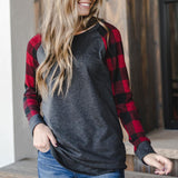 Plaid Sleeve Top - Truly Yours, Fashion