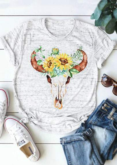 Floral Bull Skull Print Tee - Truly Yours, Fashion