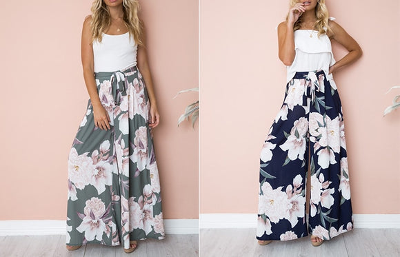 Floral Print Wide Leg Pants - Truly Yours, Fashion