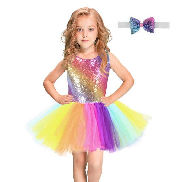 Rainbow Sequins Tutu Dress
