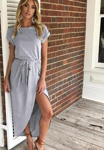 Grey Bow Asymmetrical Maxi Dress