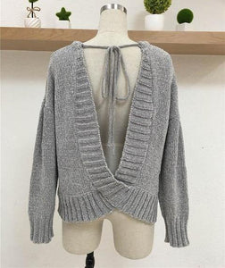 "The ""Kylie"" Backless Knit Sweater - Truly Yours, Fashion"