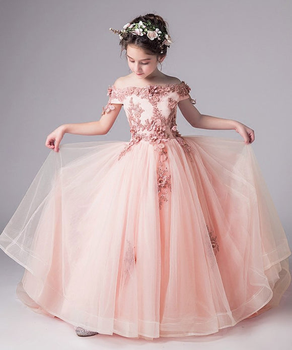 GIRLS PINK OFF THE SHOULDER FLORAL EMBROIDERED FLOWER GIRL & PAGEANT FLOOR LENGTH DRESS - Truly Yours, Fashion
