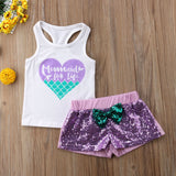 Mermaid Top Glitter Shorts Set