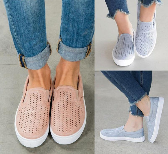 Flock Slip-on Shallow Breath Flat Shoes - Truly Yours, Fashion