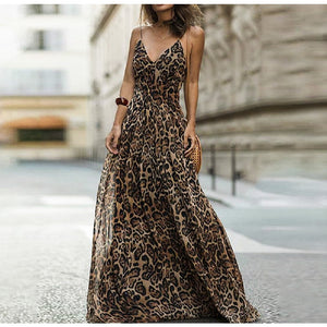 Leopard Print Chiffon Maxi Dress