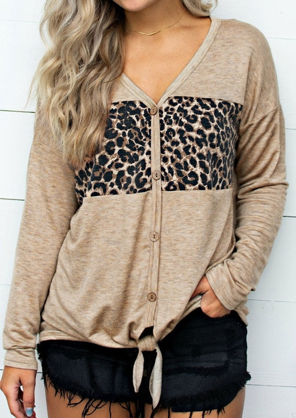 Leopard Printed Tie Button Top