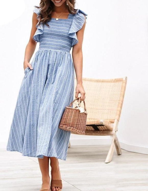 Vintage Striped Ruffle Dress