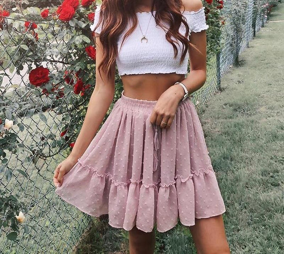 Casual High Waisted Skirt
