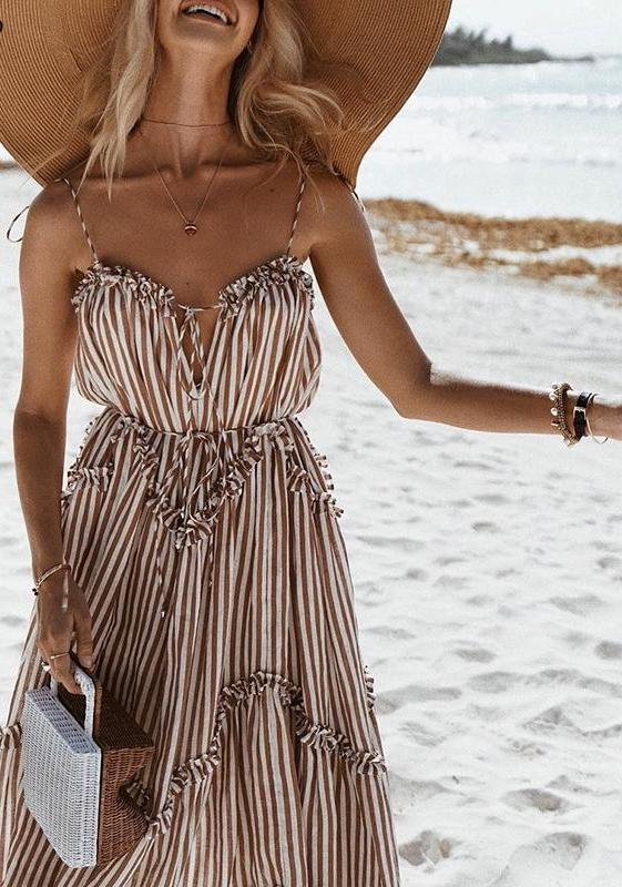 Elegant Stripe Summer Dress - Truly Yours, Fashion