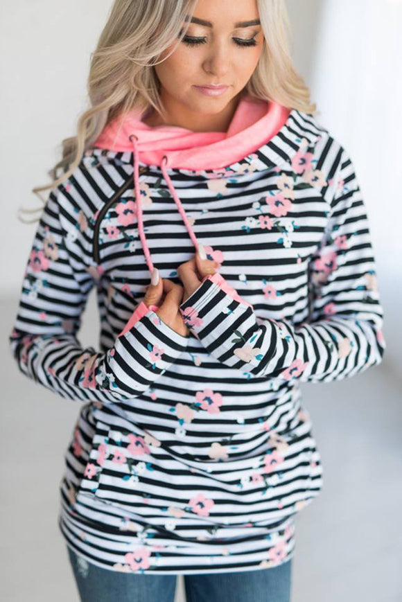 Striped Floral Double Hoodie