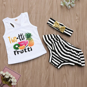 Two-tti Frutti Tank Top + Shorts Headband Set