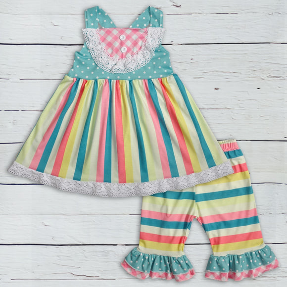 Cotton Candy Striped Ruffle Set - Truly Yours, Fashion