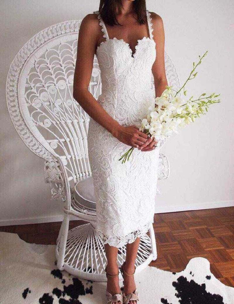 1116e588324 Lace Crochet Hollow Out Slim Spaghetti Strap Bodycon Dress - Truly Yours
