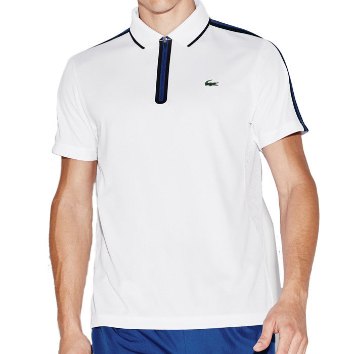 f903dd0e0 Men s Sport Ultra Dry Piqué Zipper Tennis Polo - White  Navy Blue - Royal  ...