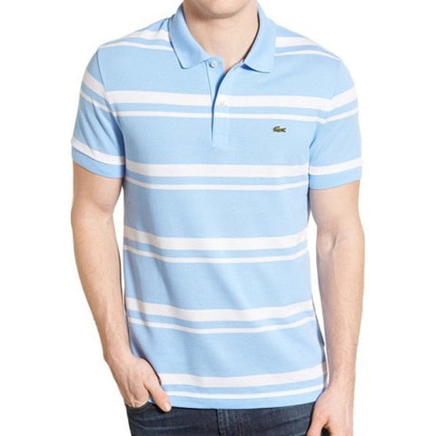1c1276148d4fa Lacoste. Men s Short Sleeve Bold Striped Piqué Polo - Nattier Blue 07E White