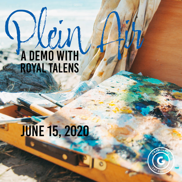 Plein Air sign up image, a picture of an open artbox, a palette inside smeared with  blues and greens, a dirty painting cloth