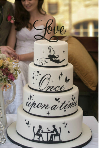 Black and white wedding cake, shilouette wedding cake