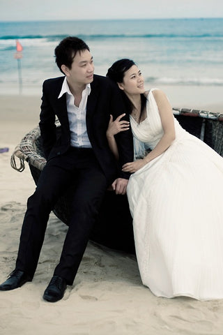 bride and groom at the beach, destination wedding, wedding abroad