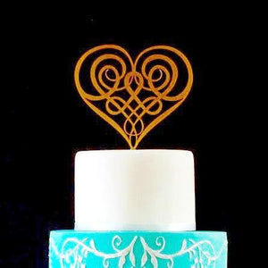 Celtic Knot in Heart Shape Wedding Cake Topper (FREE SHIPPING)