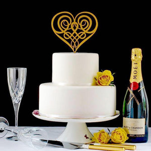 Celtic Knot in Heart Shape Wedding Cake Topper (FREE WORLDWIDE SHIPPING)