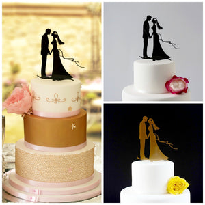 Classic Bride and Groom Silhouette Wedding Cake Topper (FREE SHIPPING)