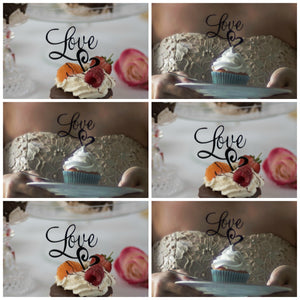 Elegant Love Cupcake Toppers (FREE SHIPPING)