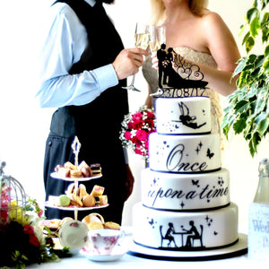 Traditional Bride and Groom Slihouette Wedding Cake Topper with Custom Date (FREE SHIPPING)