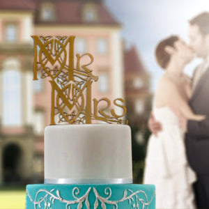 Celtic Mr and Mrs Wedding Cake Topper