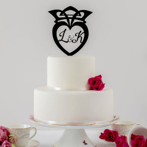 Celtic Crown Wedding Cake Topper with Initials