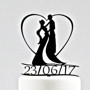 Art Nouveau Wedding Cake Topper, Date Included (FREE SHIPPING)