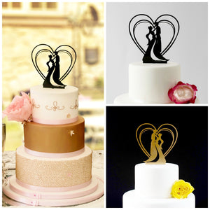 Romantic Art Nouveau Couple, Cake Topper