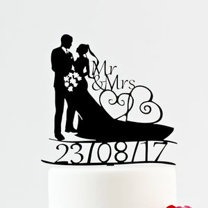 Traditional Bride and Groom Silhouette Wedding Cake Topper with Custom Date