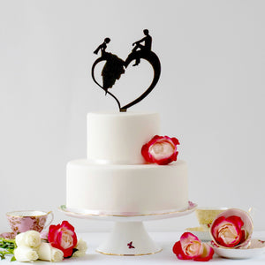 Wedding Couple relaxing Wedding Cake Topper(FREE SHIPPING)
