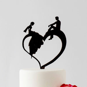 Bride and Groom Silhouette relaxing on a Heart (FREE SHIPPING)