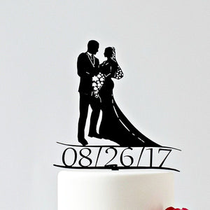 Wedding Cake Toppers, Silhouette of Bride and Groom with Date included