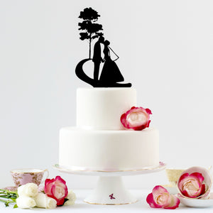 Vintage, Bride and Groom Silhouette, Wedding Cake Topper (FREE SHIPPING)